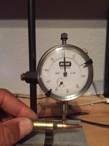 Concentricity gauge showing less than .002